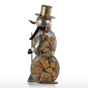 Tooarts Muñeco de nieve de Navidad Contenedor de corcho Artesanías de metal Decoración del hogar Artesanía práctica Regalo de Navidad Presente Para Navidad Y19061103