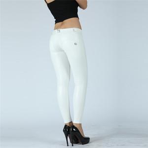 cuatro maneras estirable pantalones térmicos Melody polainas de las mujeres de cuero sintético pantalones de cuero blanco