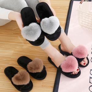 BODENSEE Pantuflas de mujer Las mujeres del amor del corazón de algodón invierno de los deslizadores antideslizantes de piso Inicio peludo zapatillas zapatos de las mujeres para el dormitorio