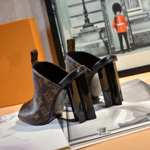 Clássico Sandals Lady Verão 2019 do Designer Sandals fivela de metal grandes tamanho de couro de salto alto sapatos femininos com 35-40 com caixa L5
