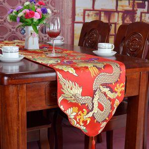 Dragon Table Runners Tischdecke aus chinesischem Seidensatin Rechteckiger Tisch MatHigh End Damast mit hoher Dichte für Bankette