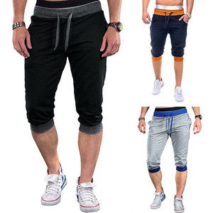 Mens-Taschen-Patchwork-Hosen Art und Weise Drawstring knielangen Hosen Mens Regular gerade gestreift Mid Regular Pants