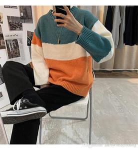 Triko Tasarımcı Renkli Çizgili Uzun Kollu Kniter Casual Erkek Gevşek Kazak Süveter Moda Genç Mens Tops