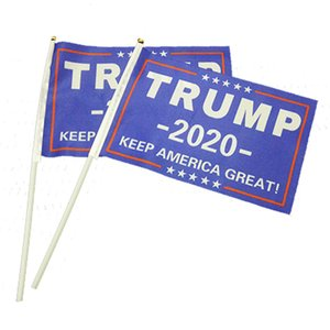 Hand Held Trump Mini Flag 2020 Election Flag With Stick Trump President Election Keep America Great Fashion Home Decoration Banner VT0632