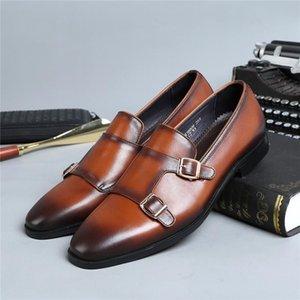 Социальная двойная кожаная обувь Бизнес-мужское платье для ремень ремень обувь подлинной свадьба монаха Cxetj
