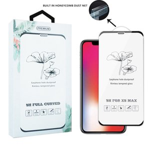 For iPhone X XS XR XS MAX No Side Bezel With Dust Net Full Glue Tempered Glass Screen Protector For iPhone 8 7 6 Plus