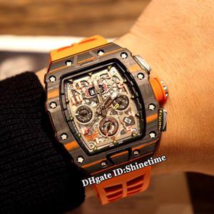 Best Edition RM11-03 McLAREN scheletro caso quadrante in fibra di carbonio Big Data Miyota automatico RM 11-03 Mens Watch Arancione in gomma Orologi di sport della cinghia