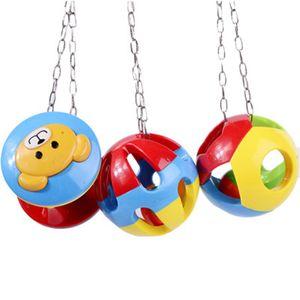 Cute Pet Bird Plastic Chew Ball Chain Cage Toy for Parrot Cockatiel Parakeet Pet Parrot Toy Bird Hollow Bell Ball Drop Shipping