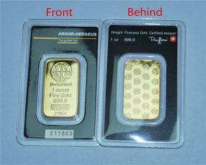 Nero Blister Argor-Heraeus SA Swizerland lingotto d'oro, 999 multa oro placcato bar gratuito regalo ricordi di spedizione