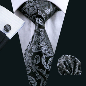 Mens Black Tie Paisley 100% Silk clássico Barry.Wang Tie Hanky ​​Abotoaduras Set For Men casamento formal Sell partido noivo Hot