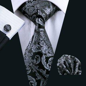 Mens Black Tie Paisley 100% soie classique Barry.Wang Tie Hanky Set Boutons de manchette pour les hommes de mariage formel Party marié Hot Vendre