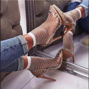 Nouveauté PVC Stiletto Heels vert fluo Leopard Orange Blanc Tissu Mesh creux Sandales d'été sexy chaussures colorées nouvelles