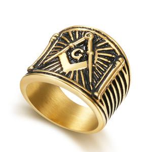 Único antigo aço Inoxidável bússola e praça dos homens maçônico regalia signet anéis presentes maçônicos símbolo itens atacado fábrica