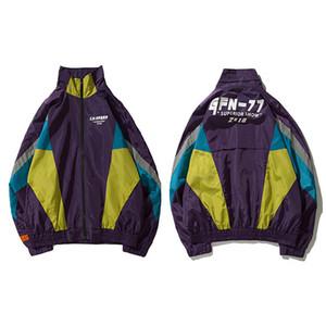 Windbreaker Vintage Jacket Streetwear Mens Brasão Oversize coreana Harajuku Color Block Casacos Outono Causal Hip Hop Jacket