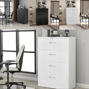 White Home Office Lateral File Cabinet Metal Steel filing cabinet lock Anti-tilt structure 4 Drawers Fully Assembled Except Wheels
