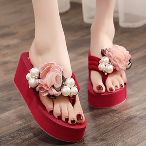 Summer Flip Flops Women Slippers 2019 Floral Wedges Slippers Women Shoes Bohemian Platform Beach Slippers Shoes
