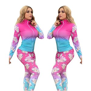 Bayan 2 Parça Set Uzun Kollu Hırka Kıyafetler Bayan Mont Kabanlar Jogger Spor Suit Kazak Tayt Spor Takım Elbise KLW4037