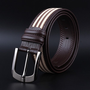 Classic men's casual wear matching shirt belt and jeans Pin jeans men's pin buckle decorative texture pattern belt wide