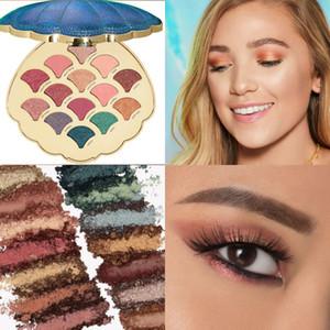 Русалка Shell Eyeshadow Palette 14 Цвет Shimmer Matte Nude Пигментированный Бриллиант с блестками Тени для век Pallete Косметическая косметика