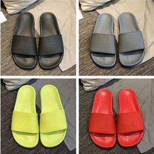 YENİ Lüks Tasarımcı Womens Yaz Havuzu Slide Sandal kauçuk Sandalet Plaj SlideCasual Terlik Bayan Comfort Ayakkabı Deri yazdır