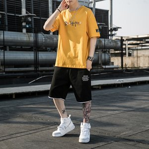 mensShort-sleeved T-shirt shorts sports fashion casual boy handsome two-piece suit