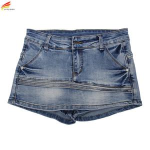 Frauen Skort Shorts 2020 Sommer-Fashion Style Sexy Damen Shorts Rock Plus Size Mini Skorts weiblich Blau-Farben-Frauen kurze Jeans