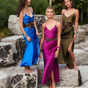 Zhymihret 2019 Bahar Bölünmüş Saten Uzun Elbise Kadınlar Seksi V Boyun Parti Elbise Zarif Backless Plaj Vestidos Mujer Robe Y19051001 Çekin