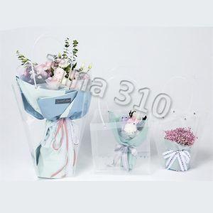 Трапециевидная прозрачная подарочная сумка пластиковая сумка для хранения ПВХ Цветочная сумка магазин упаковочных сумок партия праздничных цветов HandbagsT2I5370