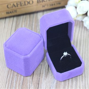Wholesale 12pcs lot 5.5*5*4cm Fashion Octagonal Purple Velvet Jewelry Ring Packaging Box Earring Display Wedding Ring Gift Box
