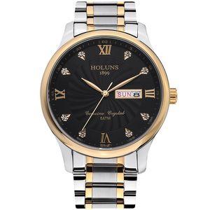 reloj de lujo HOLUNS mens montres haut luxe pleine mens de quartz de bande en acier inoxydable Montres-bracelets mâles simples occasionnel montre de luxe