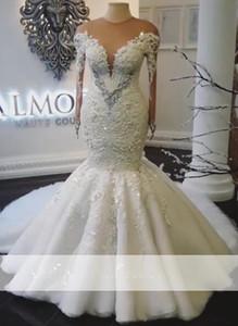 2019 Real foto sexy Jewel sweep sirena del collo abiti da sposa del treno Cristalli maniche lunghe illusione Corpetto nuziale Gowns
