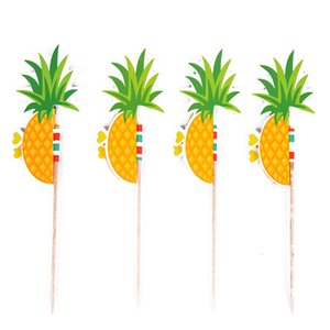 50pcs set Cupcake Decorations For Family Pineapple Paper Inserts Cute DIY Party Supplies Cake Topper Stick Dessert Muffin