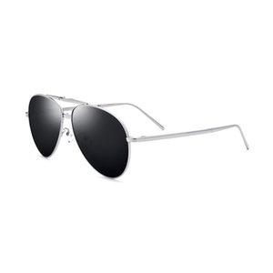 Lens Nero lega di titanio Uomini Occhiali da sole polarizzati pieghevole Glasses Silver Frame