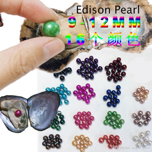 Free shipping Wholesale 2020 New 10-12mm round Edison Pearl Oyster 16 mix color Natural pearl Gift DIY Loose Decorations Vacuum Packaging