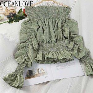OceanLove Encolure Chemises à carreaux Volants plissés Printemps Eté Femmes Blouses manches bouffantes 2020 coréenne Blusas Mode 16068