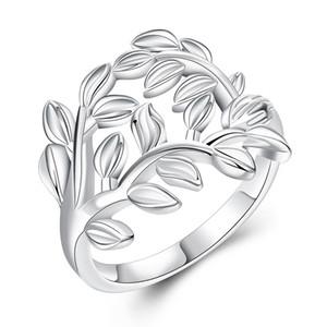 Anelli piccoli freschi Anelli placcati argento con motivo a fascia Anello S925 Gioielli d'argento unici alla moda e progettati per regalo di Natale per signore POTALA757