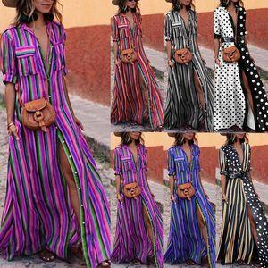 Elegante mujer Boho Vestido largo largo Dama de la moda Fiesta de noche Vestidos de playa de verano Vestido de camisa a rayas de verano