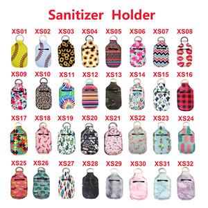32 Colors Neoprene Hand Sanitizer Bottle Holder Keychain Bags 30ML 10.3*6cm Key Rings Hand Soap Bottle Holder DHL Fast Shipping