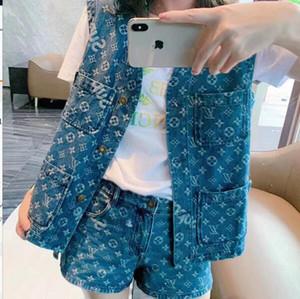 Frauen Luxus Designer Denim Vintage Brief Jacquard Zweiteiler Hosen Tops Hemd Weste Jacke + Shorts Mini Hosen Weibliche Runway Cowboy Hemd Sets