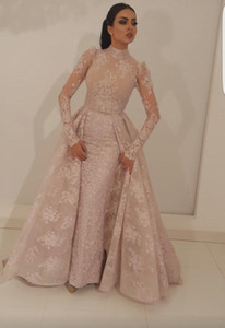 Ilusão Collar robe de soiree muçulmana Vestido sereia alta mangas compridas Lace Dubai Arábia Árabe longo desfile vestido de noite baratos
