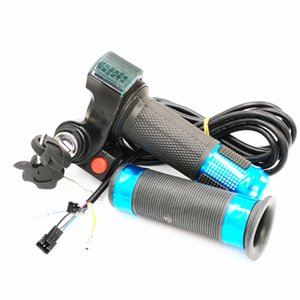 E-bisiklet 36V 22.5mm Elektrikli Bisiklet Handlebar için Boynuz Switch ile / 48V twist Gaz Sapları LED Pil Seviye Gösterge ve Güç Kilidi