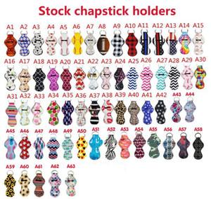 63colors padrão de impressão titular chapstick Handy Lip Balm Titular Keychain Bolsa para Chapstick Batom Rastreador de salvaguarda novidade presente