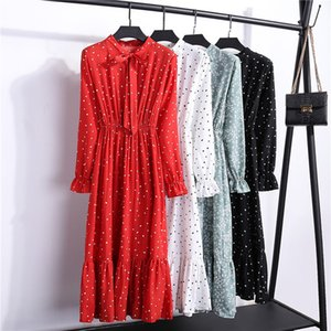 Women Casual Autumn Dress Lady Korean Style Vintage Floral Printed Chiffon Shirt Dress Long Sleeve Bow Midi Summer Dress Vestido FCXB555