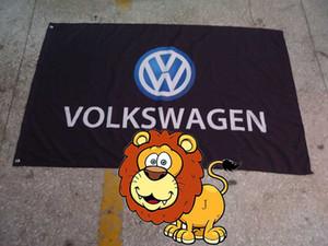 volkswagen bandiera nera squadra corse, volkswagen striscione nero, 90 * 150CM polyster flagking bandiera del marchio