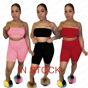 2020 Summer Women's Letters Printed Tracksuit Sexy Strapless TopTees + Shorts Two-piece Clothing Sets Brand Outfits Sports Suit S-XXL NK7103