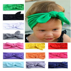 INS do bebê da menina de coelho da orelha Hairbands ouvido headband arco lindo Carneiras meninas Coelho cabelo cor sólida faixa elástica Knot Cabelo Acessórios INS