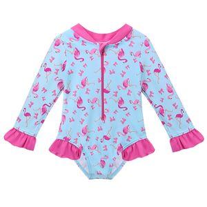 Baohulu Karikatür Bebek Kız Mayo Petal Uzun Kollu Kuğu Kız Mayo Çocuk Mayo Upf50 + tek Parça Çocuk Yüzme Suit Y19062801