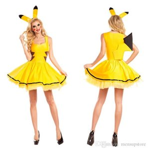 Pika Designer Women Cosplay Costume Yellow Cute Stage Clothes Dress