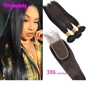 Brazilian Virgin Hair 3 Bundles With 3X6 Lace Closure Straight 100% Human Hair Extensions Silky Straight With 3 By 6 Closure 4 Pieces