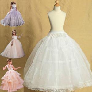 Lolita enagua 2 del aro con Pettiskirt Edge niños de boda del cordón de la falda de la enagua de la crinolina de resbalón del chica ajustable para Niños 2-14 Años de Edad